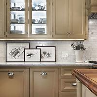 Tom Stringer - kitchens - Pratt and Lambert - Maya - painted cabinets, painted kitchen cabinets, taupe cabinets, taupe kitchen cabinets, white marble, white marble countertop, linear marble tiles, linear marble backsplash,