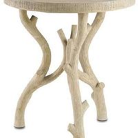 Tables - Hanbury Occasional Table design by Currey & Company I Burke Decor - faux bois occasional table, round faux bois side table, faux bois style accent table,