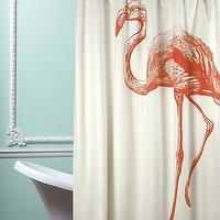 Bath - Flamingo Shower Curtain in Coral design by Thomas Paul I Burke Decor - pink flamingo shower curtain, flamingo shower curtain, vintage style flamingo shower curtain,