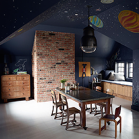Monique Gibson - boy's rooms - celestial ceiling, painted celestial ceiling, playroom ceiling, kids ceilings, attic playroom, playrooms, playroom ideas, play table, work table, kids work table, playroom window seat,