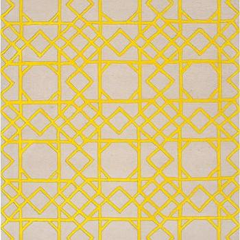 Rugs - Goa Collection 100% New Zealand Wool Area Rug I Burke Decor - geometric yellow and beige rug, yellow and beige fretwork rug, yellow and beige cane pattern rug,