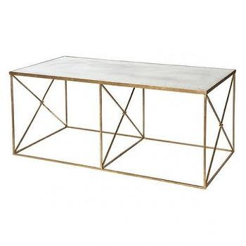 Tables - Furano Coffee Table design by Aidan Gray I Burke Decor - gold coffee table with glass top, gold coffee table with antiqued glass top, gold x frame coffee table with glass top,
