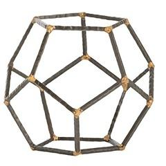 Decor/Accessories - Arteriors Harmon Small Accessory I Zhush - hammered iron sculpture, pentagon shaped sculpture, hammered iron rod decor,
