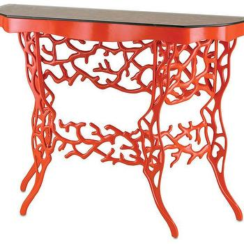 Tables - Corail Console Table in Red design by Currey & Company I Burke Decor - red coral accent table, red coral console table, red demi lune console table,