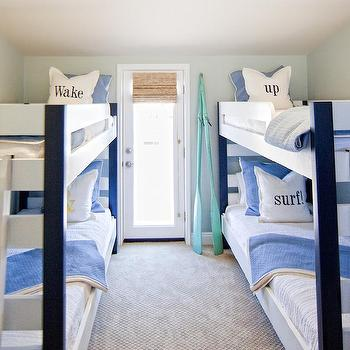 Brooke Wagner Design - boy's rooms: teal oars, decorative oars, kids bunk beds, boys bunk beds, surf pillows, white and blue bedding, kids bedding,