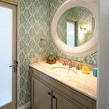 Brooke Wagner Design - bathrooms - turquoise wallpaper, turquoise blue wallpaper, galbraith and paul wallpaper, white mirror, white round mirror, gray washstand, gray door, frosted glass door, turquoise and gray bathroom, blue and gray bathroom,