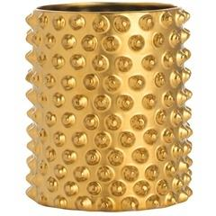 Decor/Accessories - Arteriors Gold Snail Shell Container I Zhush - gold studded container, brass studded container, brass studded vase, gold studded vessel,