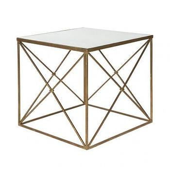 Tables - Furano Side Table design by Aidan Gray I Burke Decor - modern gold side table with glass top, gold x sided table with glass top, gold cube shaped side table with glass top,