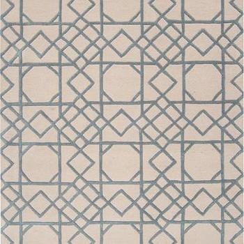 Rugs - Goa Collection 100% New Zealand Wool Area Rug I Burke Decor - geometric blue and beige rug, blue and beige fretwork rug, blue and beige cane pattern rug,