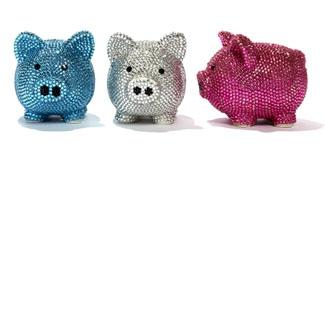 Decor/Accessories - Two's Company Bling Piggy Bank with cyrstals I Zhush - crystal piggy bank, blue crystal piggy bank, silver crystal piggy bank, pink crystal piggy bank,