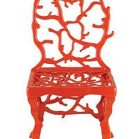 Seating - Corail Accent Chair in Red design by Currey & Company I Burke Decor - red coral chair, glossy red coral chair, red coral accent chair,