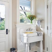 Tom Stringer - laundry/mud rooms - Benjamin Moore - Bleeker Beige - bleeker beige, utility sink, laundry room sink, 2 leg sink, 2 leg laundry room sink, 2 leg utility sink, subway tile backsplash, slate tile, slate floor slate tile floor,