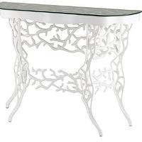 Tables - Corail Console Table in White design by Currey & Company I Burke Decor - white coral console table, coral shaped console table, white demi lune coral console table,