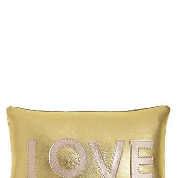 Pillows - Metallic Leather Love Pillow | Calypso St. Barth - gold love pillow, metallic gold love pillow, gold leather love pillow,