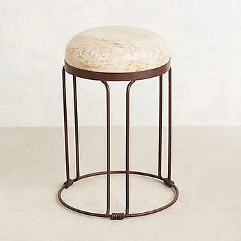 Seating - Iron Loft Stool I anthropologie.com - iron stool with bleached seat, industrial iron stool, round iron stool with bleached seat,