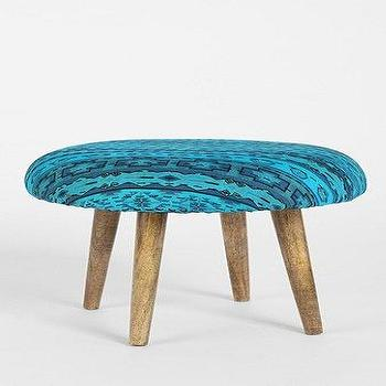 Seating - Magical Thinking Overdyed Geo Stool I Urban Outfitters - blue overdyed cotton stool, turquoise blue overdyed stool, wooden stool with overdyed blue seat,