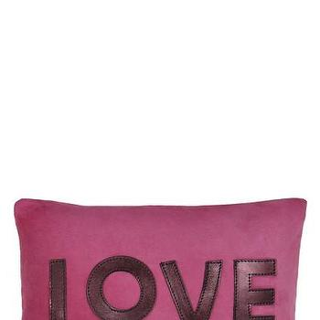 Pillows - Love Suede Pillow | Calypso St. Barth - pink suede love pillow, fuchsia pink love pillow, pink love pillow,