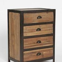 Storage Furniture - Packard 4-Drawer Cabinet I Urban Outfitters - wooden cabinet with metal frame, wooden cabinet with iron frame, industrial wood and metal cabinet with cup pull hardare, industrial cabinet with cup pull hardware,
