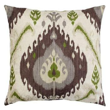 Pillows - Samara Pillow I Z Gallerie - taupe and green ikat pillow, taupe and lime green ikat pillow, taupe gray and green ikat pillow,