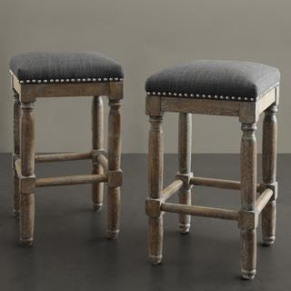 Seating - Renate Grey Counter Stools (Set of 2) | Overstock.com - reclaimed wood counter stools, reclaimed gray counter stools, reclaimed wood counter stools with gray seat, reclaimed wood counter stool with nailhead trimmed gray seat,