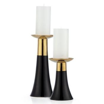 Decor/Accessories - Urbane Pillar Holder | Z Gallerie - black and gold candle holders, black and gold pillar holder, modern black and gold candle holders,