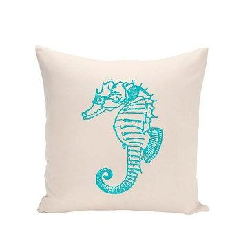 Pillows - Applied Design Home Cotton Canvas Pillow - Horsea | BLUEFLY - aqua blue seahorse pillow, aqua blue and white seahorse pillow, turquoise and white seahorse pillow, seahorse print pillow,