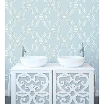 Wallpaper - WallCandy Arts Quatrefoil Aqua/White Removable WallPaper | BLUEFLY - blue and white quatrefoil removable wallpaper, aqua and white quatrefoil removable wallpaper, aqua blue removable wallpaper,