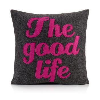 Pillows - Alexandra Ferguson The Good Life 16x16 Pillow | BLUEFLY - the good life pillow, charcoal gray and fuchsia the good life pillow, pink and gray the good life pillow,