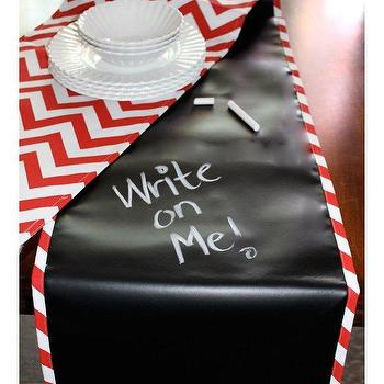 Decor/Accessories - Scribble Linens Table Runner Red Chevron | BLUEFLY - write on table runner, scribble on table runner, chalkboard style table runner, red and white chevron scribble on table runner, red and white chevron draw on table runner,