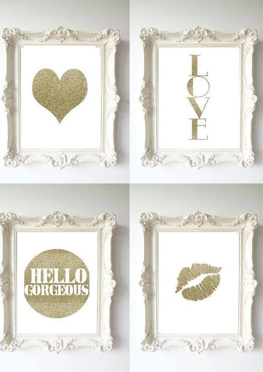 Gold Wall Home Decor : Wall decor home gold glitter lips by