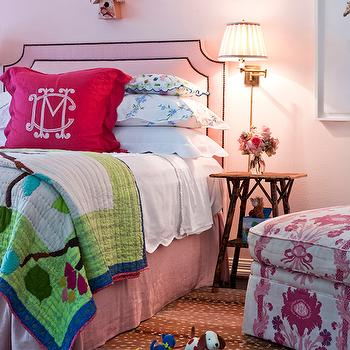 Avrea Wagner Interiors - girl's rooms - bird house, barely there pink walls, light pink walls, scalloped bedding, kids bedding, pink bedskirt, pink bed skirt, kids quilt, personalized bedding, kids personalized bedding, monogrammed bedding, kids monogrammed bedding, rustic nightstand, rustic bedside table, kids nightstand, swing arm sconce, pleated lamp shade, pink headboard, pink queen headboard, animal pattern rug, animal patterned rug, ikat chair, ikat slipper chair, pink ikat slipper chair,