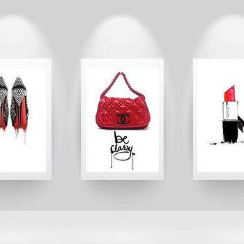 Art/Wall Decor - 3 chanel dream prefume original Illustration by theprintsworld I Etsy - red black and white chanel art, red black and white chanel purse art print, red black and white chanel shoes art print, red black and white chanel lipstick art print,