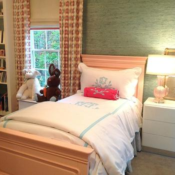 Avrea Wagner Interiors - girl's rooms - off set window, turquoise grasscloth, kids room grasscloth, built in window seat, kids window seat, pink patterned curtains, pink patterned drapes, kids curtains, kids window treatments, pink bed, pink kids bed, twin pink bed, pink twin bed, personalized bedding, kids personalized bedding, monogrammed bedding, kids monogrammed bedding, hot pink bolster pillow, 3 drawer nightstand, pink glass lamp,