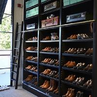 closets - mens closet, men closet, men closet ideas, mens closet ideas, black shoe shelves, black shelves for shoes, shoe shelves, shelves for shoes, closet ladder,