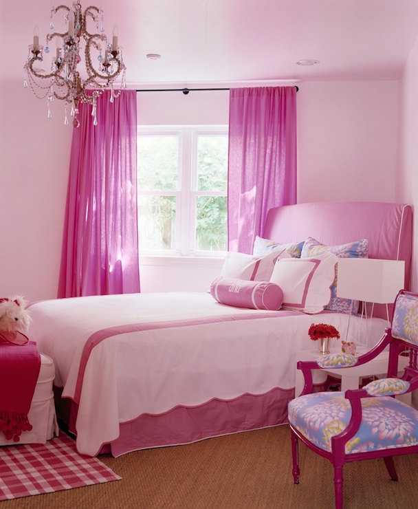 Hot pink curtains traditional girl 39 s room katie by design - Hot pink room ideas ...