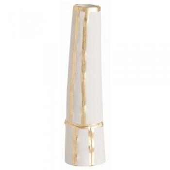 Decor/Accessories - Venus Tall Vase | Pulp Home - tall gold and white vase, white vase with gold leaf detail, contemporary white vase with gold leaf trim,