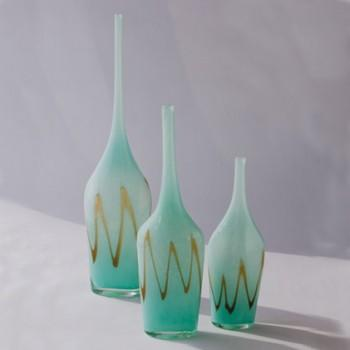 Decor/Accessories - Ocean Bottle Medium | Pulp Home - aqua bottles, aqua bottles with gold trim, aqua bottles with gold chevron detail,