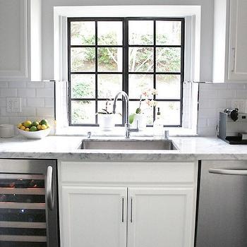 Erika Brechtel - kitchens - white kitchen cabinets, carrera marble, carrera marble countertops, beveled subway tiles, beveled subway tile backsplash, stainless steel dishwasher, wine cooler, french windows, steel and glass french windows,