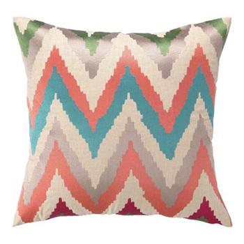 Pillows - Faultine Embroidered Pillow | Pulp Home - orange green and blue chevron pillow, orange green and blue zig zag pillow, modern chevron pillow, multi colored chevron pillow