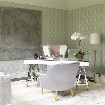 Katie by Design - dens/libraries/offices: geometric wallpaper, corner desk, desk in corner, sawhorse desk, chrome sawhorse desk, polished chrome sawhorse desk, wingback chair, white wingback chair, white sheepskin rug,