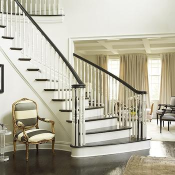 Katie by Design - entrances/foyers - winding staircase, foyer, traditional foyer, stripe chair, striped chair, grays tripe chair, gray striped chair, ivory and gray chair, stripe french chair, striped french chair, acrylic accent table, foyer chair,