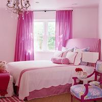 Katie by Design - girl's rooms - pink girls room, pink girl bedroom, hot pink curtains, hot pink drapes, pale pink walls, light pink walls, corner bed, bed in corner, catty corner bed, pink headboard, slipcover headboard, pink slipcover headboard, slipcovered headboard, pink slipcovered headboard, scalloped bedding, kids bedding, white and pink scalloped bedding, white and pink kids bedding, pink plaid rug, pink gingham rug, parsons bedside table, white parsons nightstand,