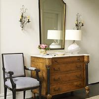 Katie by Design - entrances/foyers - etched mirror, foyer mirror, french mirror, french foyer, french foyer ideas, french chest, french chest with marble top, chest with marble top, chest with white marble top, white glass lamp, french sconces,