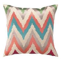 Pillows - Faultine Embroidered Pillow | Pulp Home - pink green and blue chevron pillow, pink green and blue zig zag pillow, modern chevron pillow, multi colored chevron pillow