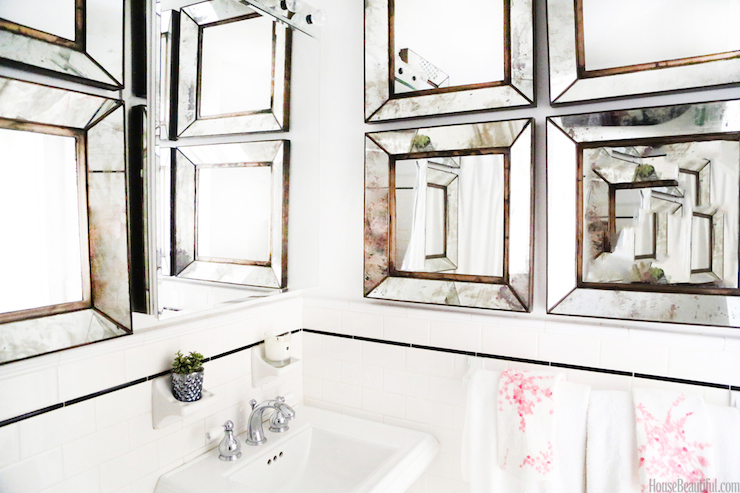 Antiqued Beveled Mirror Contemporary bathroom House