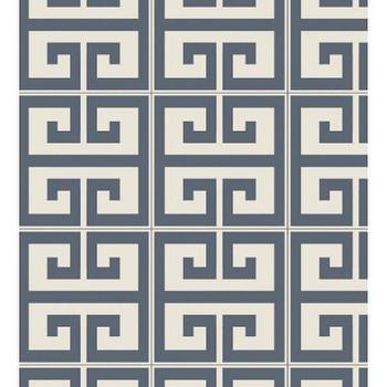 Wallpaper - Swag Paper GEO KEY | BLUEFLY - blue and white greek key wallpaper, blue and white geometric removable wallpaper, blue and white greek key temporary wallpaper,