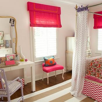 Furbish Studio - girl's rooms - girl room, girl bedroom, canopy bed, bed curtains, canopy bed curtains, bed drapes, canopy bed drapes, polka dot sheers, purple polka dot sheers, polka dot sheer curtains, kids quilts, canopy bed, kids canopy bed, pale pink walls, bamboo canopy bed, white bamboo canopy bed, faux bamboo canopy bed, french armoire, hot pink roman shade, pink stool, parsons desk, white parsons desk, lavender desk chair, lilac desk chair, striped rug, white and beige rug, beige striped rug, chevron bedskirt, pink chevron bedskirt, white and pink bedskirt,