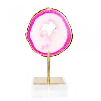 Decor/Accessories - Medium Lollipop Pink Agate on Brass & Acrylic Stand | Pulp Home - pink agate on brass stand, agate on stand, round pink agate on brass plinth,