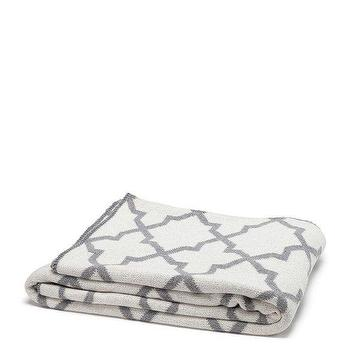 Decor/Accessories - in2green Reversible Morocco Throw Milk & Aluminum | BLUEFLY - gray and white moroccan throw blanket, reversible gray and white moroccan throw blanket, gray and white quatrefoil throw blanket,