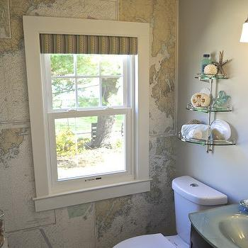 SoPo Cottage - bathrooms - world map wallpaper, attic bathroom, shelf over toilet, over the toilet shelving,  Attic bathroom features accent